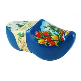 Blumen-Holzschuhe Blau